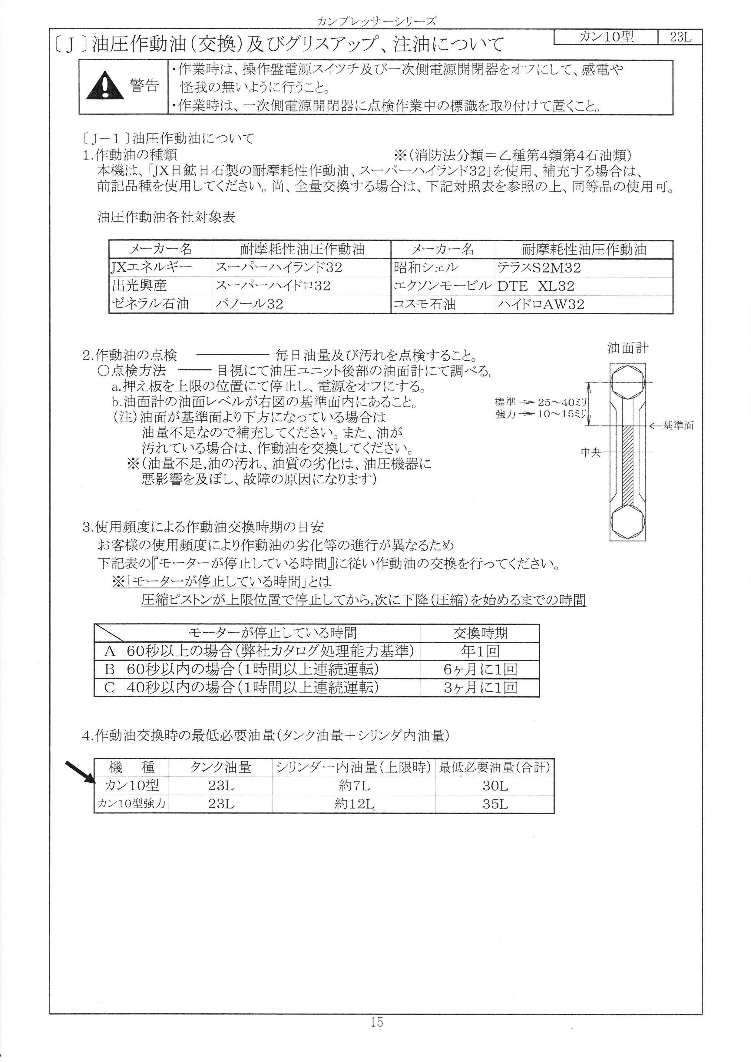 カンプレッサー10型(更油資料)